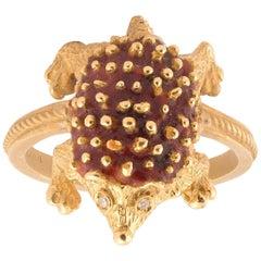 18 Karat Gold and Enamel Porcupine Ring
