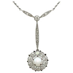 1940s Art Deco Pearl and 1.55 carat Diamond and Platinum Necklace