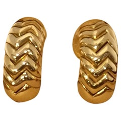 Pair of 18 Karat Gold 'Spiga' Earrings, Bulgari