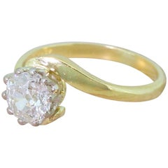Late 20th Century 0.98 Carat Old Cut Diamond Crossover Ring