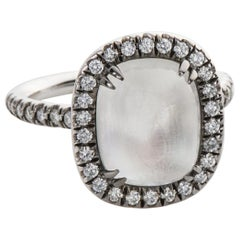 4.80 Carat Rainbow Moonstone & Diamond 18 Karat White Gold Ring