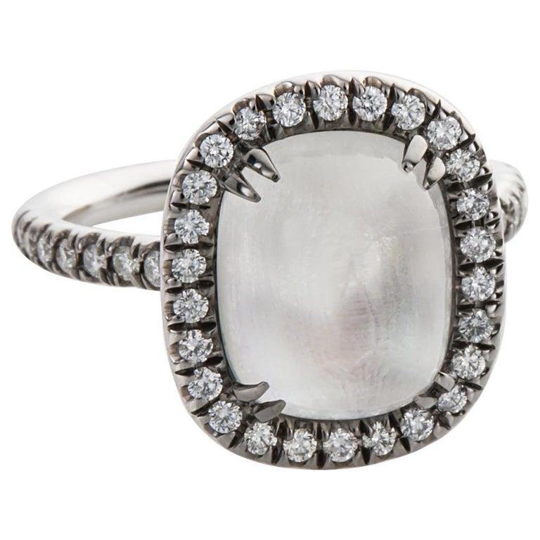 4.80 Carat Rainbow Moonstone & Diamond 18 Karat White Gold Ring For Sale