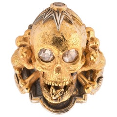 Bernardo Großer Gold Silber Diamant Totenkopf Ring