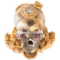Bernardo Large Gold Silver Diamond and Ruby Skull Ring