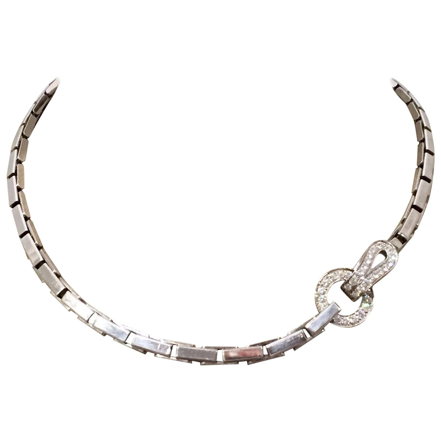 """White Gold 750 Cartier Necklace, """"Agrafe"""" Collection Set with Diamonds"""