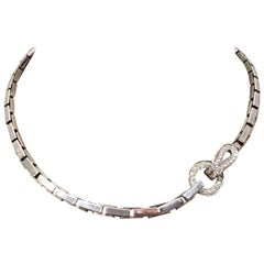 "White Gold 750 Cartier Necklace, ""Agrafe"" Collection Set with Diamonds"