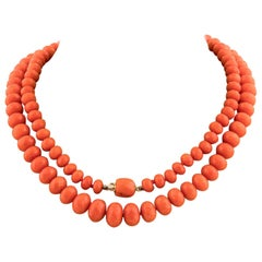 Gold Coral Bead Necklace