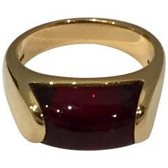 "Authentic Bulgari 18 Karat Yellow Gold Ring ""Tronchetto"" with Tourmaline"