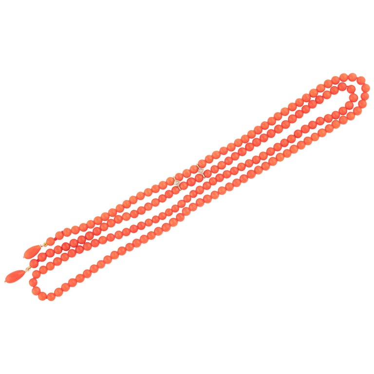 Gold Coral Bead Necklace For Sale