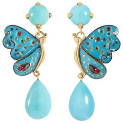 Sylvie Corbelin Enamel Butterfly Earrings with Turquoises