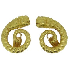 Lalaounis 22 Karat Yellow Gold Lion Head Clip On Earrings