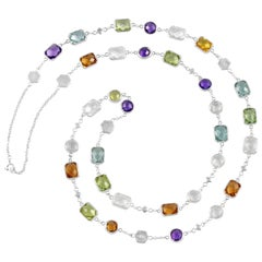 """Customizable Code By Edge Multi-Gem Necklace - """"My One And Only"""" in Morse Code"""