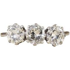 Diamond Three-Stone Ring 18 Carat Gold and Platinum, 1.2 Carat Total circa 1930s