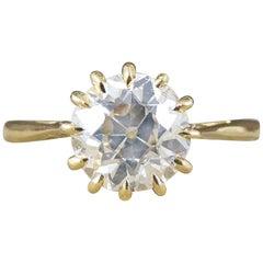 Vintage 1.50 Carat Diamond Claw Set Engagement Ring in 18 Carat Yellow Gold