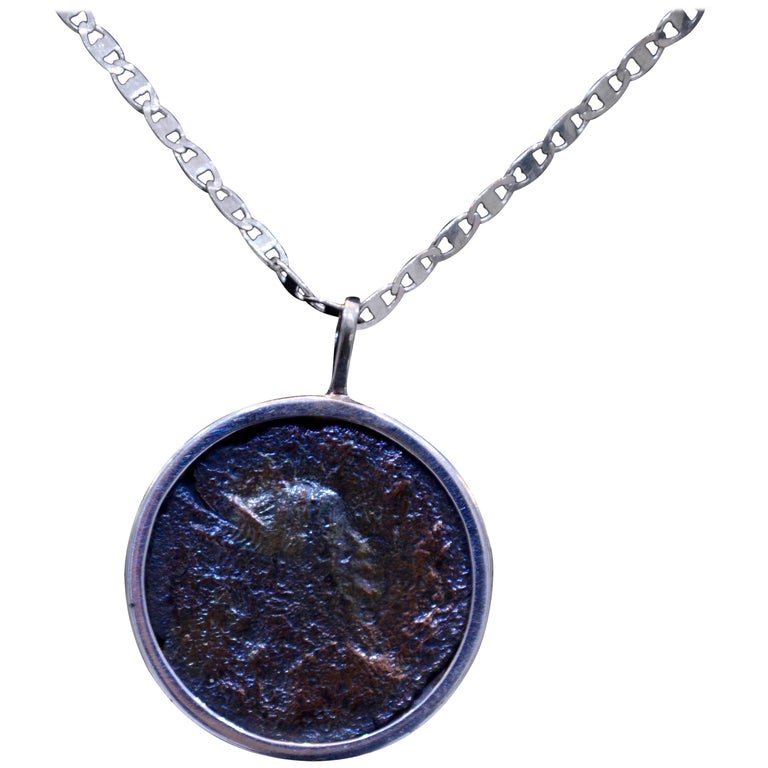 Authentic Roman Coin Silver Necklace For Sale
