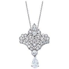 Edwardian Fleur de Lis Platinum Diamond Dangling Pendant