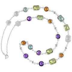"""Customizable Code By Edge Multi-Gem Necklace - """"Forever"""" Written In Morse Code"""