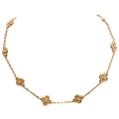 Van Cleef & Arpels 10 Motif Alhambra Rose Gold Chain Necklace