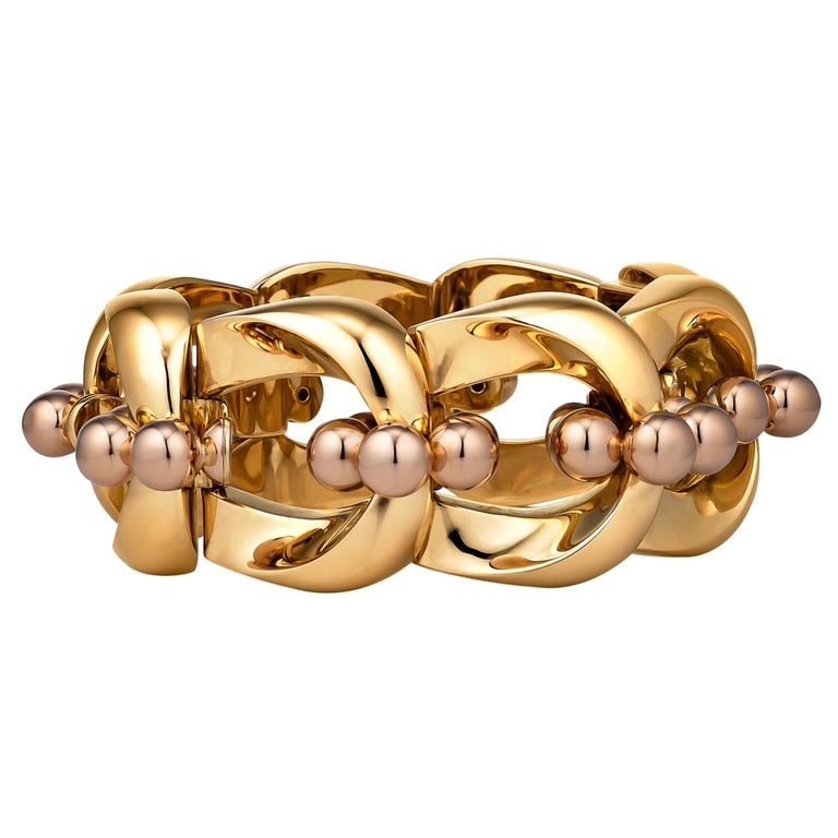 Bulgari 1940s Machine Age Gold Bracelet For Sale