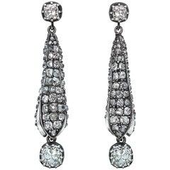 Victorian Old Cut Diamond Pod Dangling Earrings