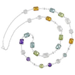 """Customizable Code By Edge Multi-Gem Necklace - """"To The Moon"""" In Morse Code"""