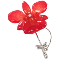 """Living Coral"" Real Orchid, Diamond and 18 Karat White Gold Stickpin/Brooch"