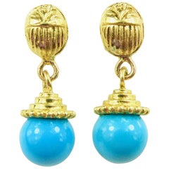 18 Karat Scarab with Turquoise Drop Earrings