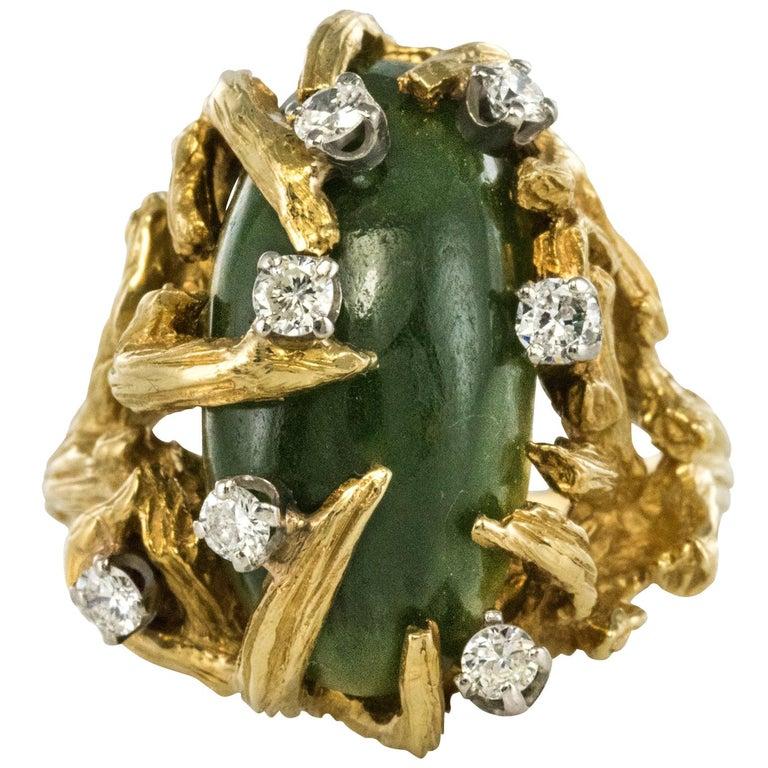 1960s Yellow Gold Jade Diamond Arthur King Spirit Modernist Ring For Sale