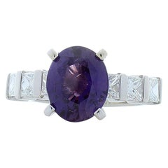 GIC Certified 3.02 Carat Purple Sapphire and Princess Cut Diamond Cocktail Ring
