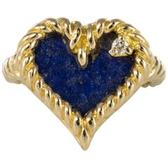 1960s Retro Lapis Lazuli Diamond Heart Shape Yellow Gold Ring