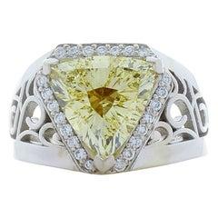 3.21 Carat Fancy Yellow Trillion Cut Diamond White Gold Cocktail Ring