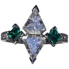 Robert Vogelsang 1.08 Carat Diamond Emerald Platinum Engagement Ring