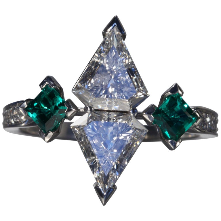 fbc505420 Robert Vogelsang 1.08 Carat Diamond Emerald Platinum Engagement Ring For  Sale