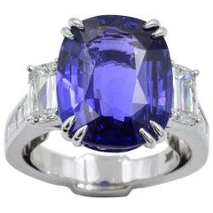 Robert Procop Exceptional 11 Carat Color Change Blue Purple Sapphire Ring