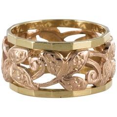 1960s Chiseled Engraved Rose Gold Wedding Ring