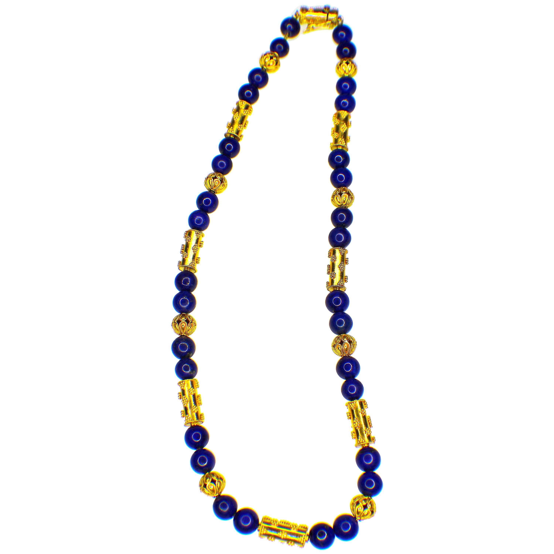 GEMOLITHOS Granulation Technique 22 Karat Gold and Lapis Lazuli Necklace, 1970s