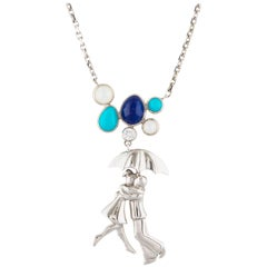 Van Cleef & Arpels A Day In Paris Necklace with Diamond, Lapis Lazul, Turquoise