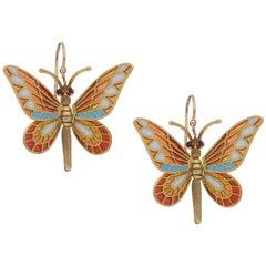 Moving Enamel Butterfly Drop Earrings in 18 Karat Brushed Yellow Gold