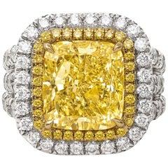 Stunning Platinum and 18 Karat Gold Fancy Yellow Diamond Ring