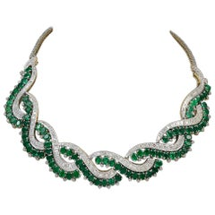 Colombian Emerald and Diamond Bridal Necklace Choker 18 Karat White Gold