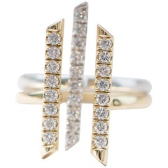 "18 Karat Yellow Gold and Diamond ""Sticks and Stones"" Double Bar Ring"
