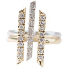 """18 Karat Gold und Diamant """"Sticks and Stones"""" Doppelstrich-Ring"""