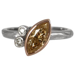 14 Karat White Gold Ring Featuring a Marque Shaped 0.48 Carat Brown Diamond