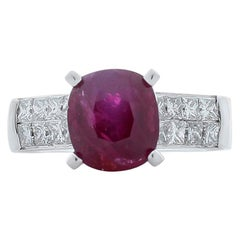 AIGS Certified 4.02 Carat Ruby and Princess Cut Diamond White Gold Cocktail Ring