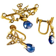 14 Karat Gold Bird Sapphire Seed Pearl Pin and Earrings