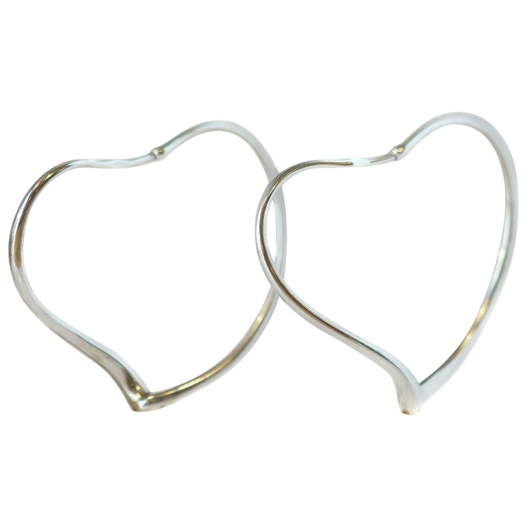 2d6495efc 1950s Tiffany & Co. Elsa Peretti Sterling Silver Open Heart Hoop Earrings  For Sale