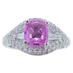 1.82 Carat Cushion Cut Pink Sapphire and Diamond White Gold Cocktail Ring