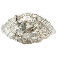 GIA Certified 1920 Art Deco 1.53 Carat Diamond Platinum Engagement Ring