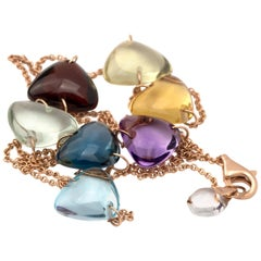 Contemporary 18 Karat Gold Link Chain with 7 Natural Rainbow Crystal Triangles