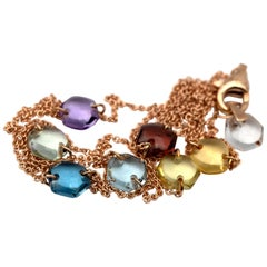 Modern 18 Karat Gold Link Chain with 8 Natural Rainbow Crystal Hexagon Charms